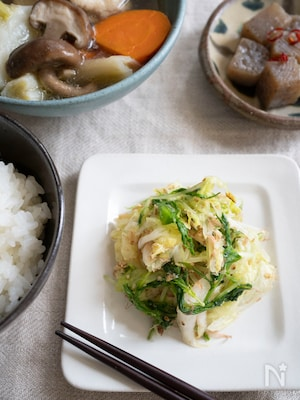 ちょっとひと品。白菜と水菜のごまおかか和え