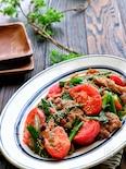 豚こまとニラトマトのスタミナ旨ぽん味噌炒め