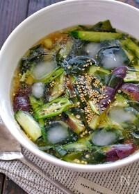 『韓国料理*夏野菜とわかめの冷たいスープ(ネング)』