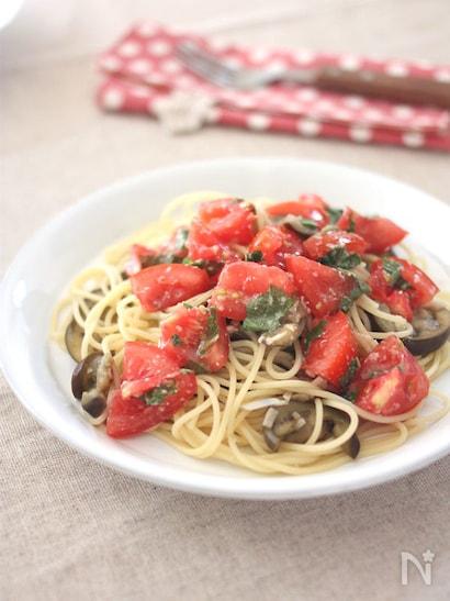塩麹和えトマトを使った冷製パスタ