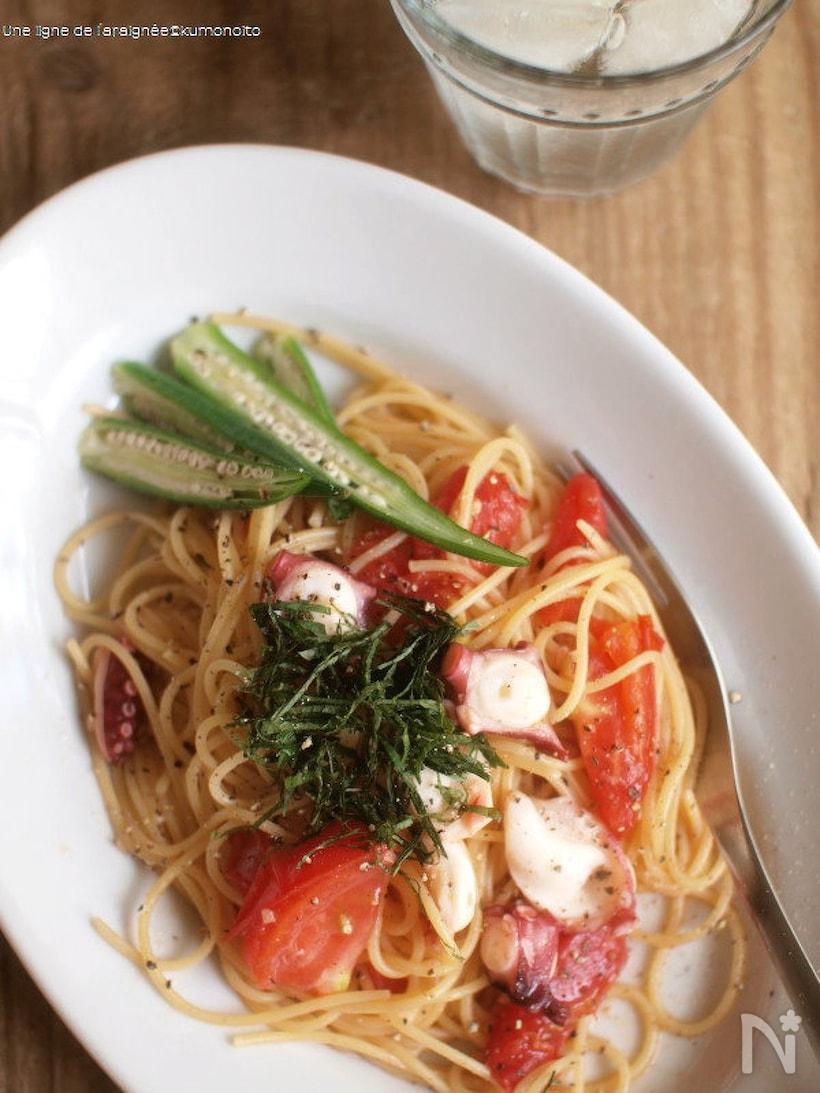 生トマトとタコのガリバタ醤油パスタ