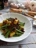 カリカリベーコンとインゲンジャガイモのカレー炒め