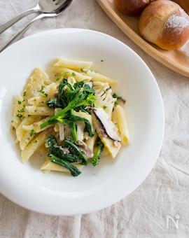 ひき肉と春野菜のクリームパスタ