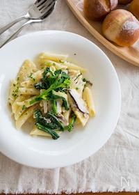 『ひき肉と春野菜のクリームパスタ』