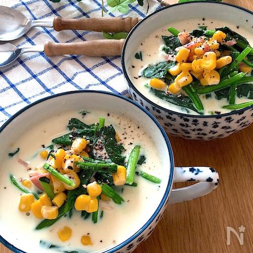 すぐできちゃう♡ほうれん草とコーンたっぷりヘルシー豆乳スープ