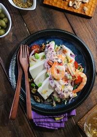 『豆腐と海老の即席タルタルサラダ』