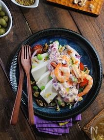 豆腐と海老の即席タルタルサラダ