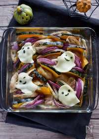 『詰めていくだけ!かぼちゃと鶏肉のオーブン焼き』