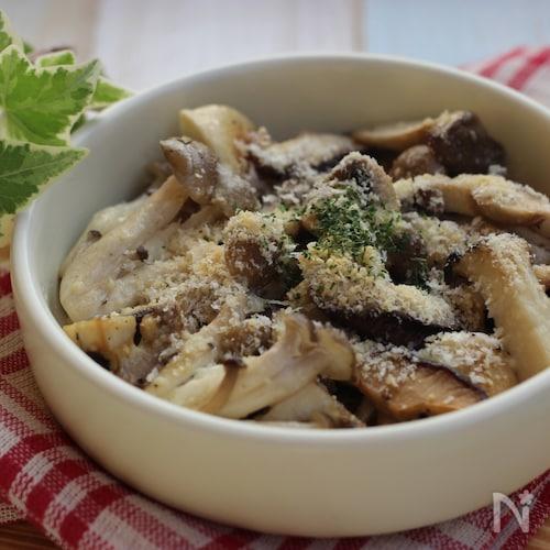 キノコ炒め、ガーリック&パルメザンチーズ風味