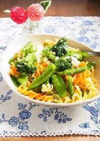 『緑野菜と半熟卵のフジッリ パルミジャーノ・レッジャーノがけ』