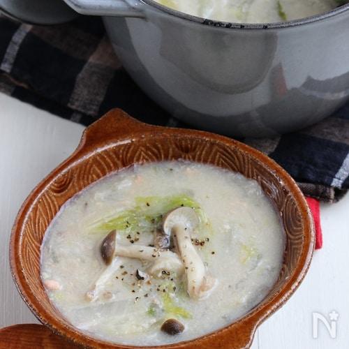 とろ~りあったまる♪鮭の里芋とろみスープ