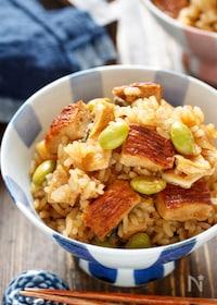『うな次郎と枝豆の炊き込みご飯【#簡単 #お弁当 #炊飯器】』