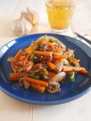 カラフル野菜と黒にんにくのケチャップ炒め