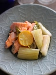 鮭とセロリの夏コンフィ。
