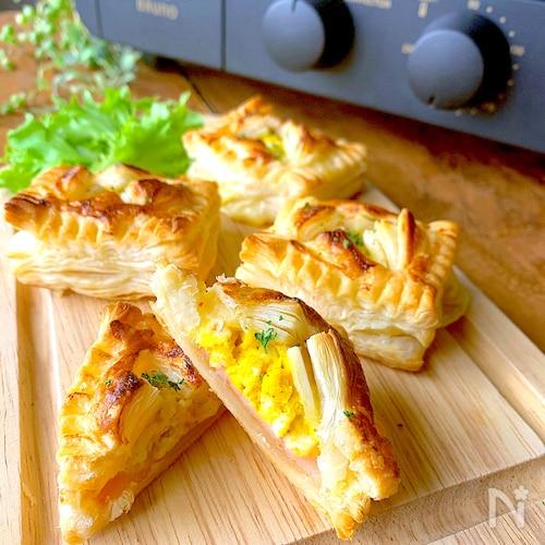 トースターで簡単おいしい♡ひとくちハムチーズたまごパイ