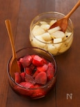 """【コウケンテツ""""適糖生活""""レシピ】りんごの赤ワイン煮 水切りヨーグルト添え/梨としょうがのコンポート"""