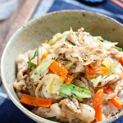 豚肉と残り野菜のスタミナ丼【#冷蔵庫のお掃除 #ランチ】