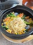 サバ缶とコーン缶の簡単安ウマ!!キムチチゲ鍋