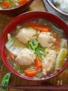生姜でぽかぽか♡ぷりぷり鶏つみれの中華風かきたま汁