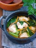 『鶏むね肉と小松菜の中華風♡とろみ生姜スープ』【#ヘルシー】
