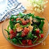 大満足なおつまみサラダ♡まぐろと豆腐とほうれん草のサラダ