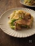 豚ばらと春きゃべつのにんにく炒め。