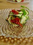 ヘルシーおつまみ ズッキーニと完熟トマトのサラダ
