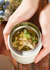 『キャベツとツナのかき玉スープ【#包丁不要#スープジャー】』