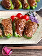 キレイに焼けます♪肉汁あふれるピーマンの肉詰め