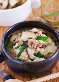『全部入れて煮るだけ3分『豆腐とひき肉の具沢山♡おかずスープ』』