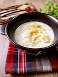 ほっこり心温まる♡餅入り『白菜とコーンのコク旨ミルクスープ』