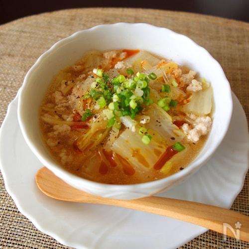 豚挽肉と白菜のピリ辛春雨スープ