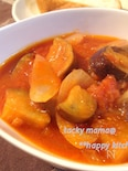 ツナ入り茄子とトマトの旨煮@バケットに乗せて