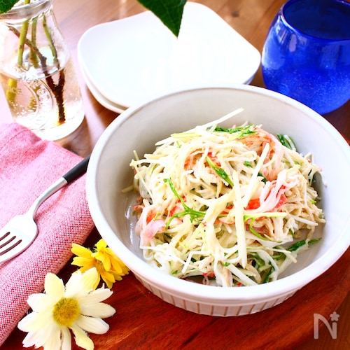 水菜とカニかまのデリ風おかずサラダ【作り置きOK】