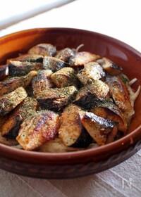 『焼きサバと刻み野菜の黒酢マリネ』
