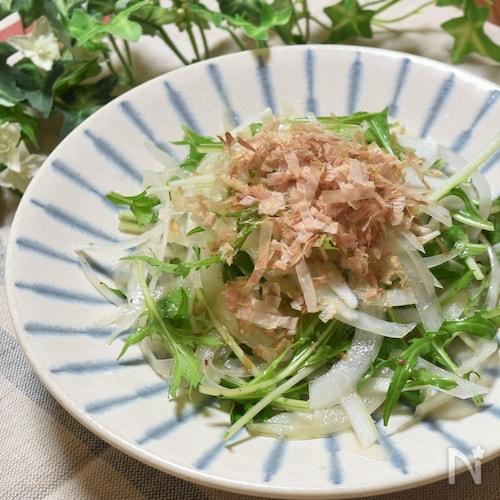 白だしで手作りドレッシング♪玉ねぎと水菜の和風サラダ