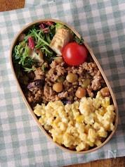 【15分弁当】たっぷりお豆のドライカレー&卵そぼろの2色弁当