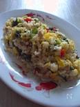 にんにく風味炒り卵とバジルのチャーハン