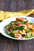 小松菜とちくわと卵のマヨ炒め