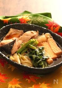 『秋鮭と厚揚げのすき焼き風 【#フライパン #旨味たっぷり】』