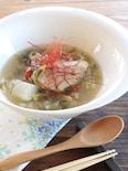 参鶏湯風♪もち麦入り手羽先のスープ