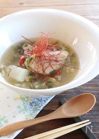 『参鶏湯風♪もち麦入り手羽先のスープ 』