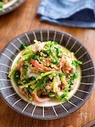 【豆苗とカニカマのツナ和え】レンチンお手軽副菜♬︎