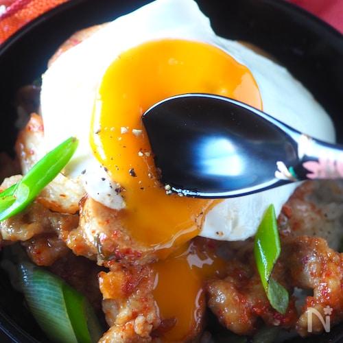 【ガッツリ男子も喜ぶ】豚こま肉と長いものキムチ丼