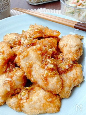 しっとり♪︎ 鶏むね肉の唐揚げ・ネギ甘酢たれ
