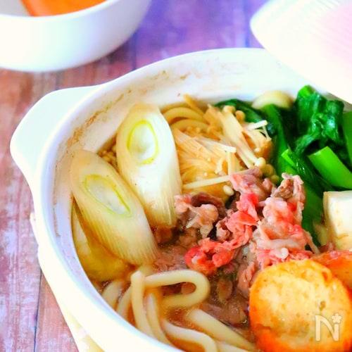 寒い夜に♡土鍋ひとつで作る!すき焼きうどんの作り方レシピ