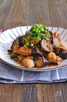 鶏肉と茄子の甘酢煮《ぽん酢で簡単!》
