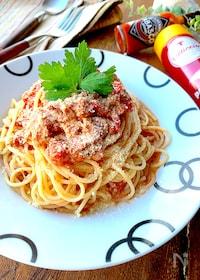 『レンチンで作る簡単ツナトマトソースでスパゲティ』