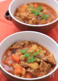 『【圧力鍋】豚肉と白インゲン豆の煮込み「カスレ」』