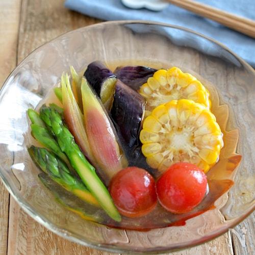 夏野菜のおひたし。あごだしつゆで簡単!シンプルな和風の副菜。